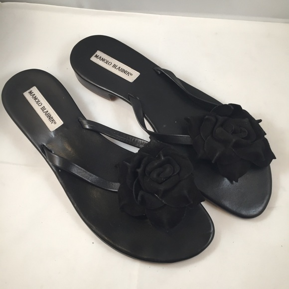 941e6caf661bc Manolo Blahnik Shoes | Patricia Black Suede Thong Sandals | Poshmark